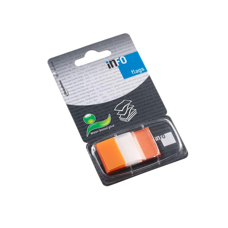 Orange Indexfaner - Info 25 x 43 mm med dispenser - 50 stk