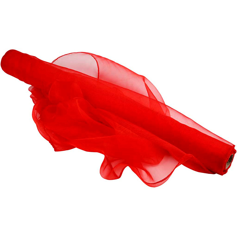 Organza stof - 50 cm bred - Rød - 10 m