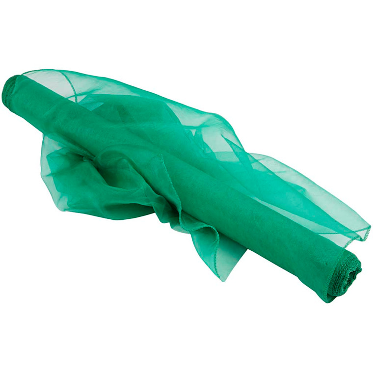 Organza stof, B: 50 cm, grøn, 10m
