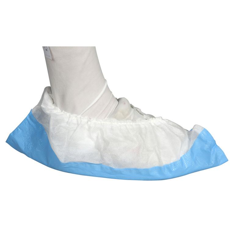 Overtrækssko skridhæmmende hvid nonwoven blå plast underside - Str. 35-41