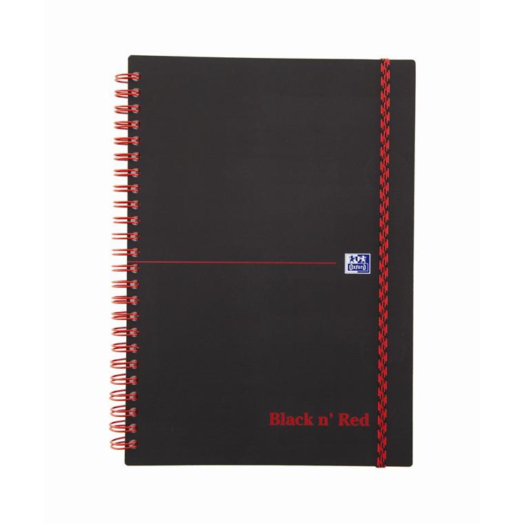 Oxford Black n Red Notesbog A5 - Plast omslag med spiral kvadreret - 70 sider