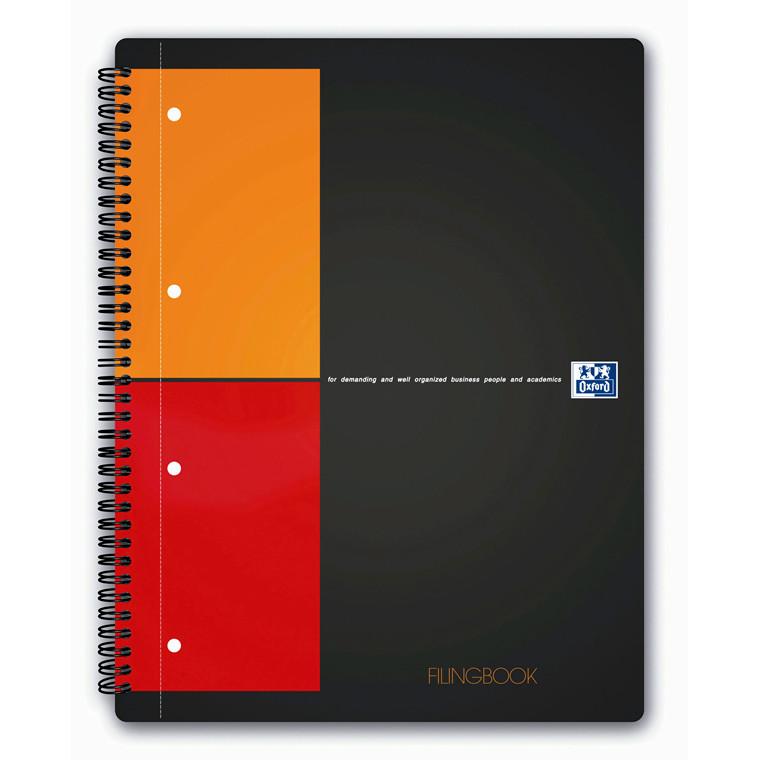 Oxford Notesbog A4+ international - Kvadreret papir med 3 faner - 100 sider