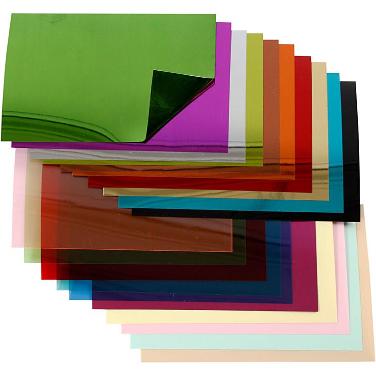 Pailletfolie, ark 15,8x11 cm, 20ass. ark