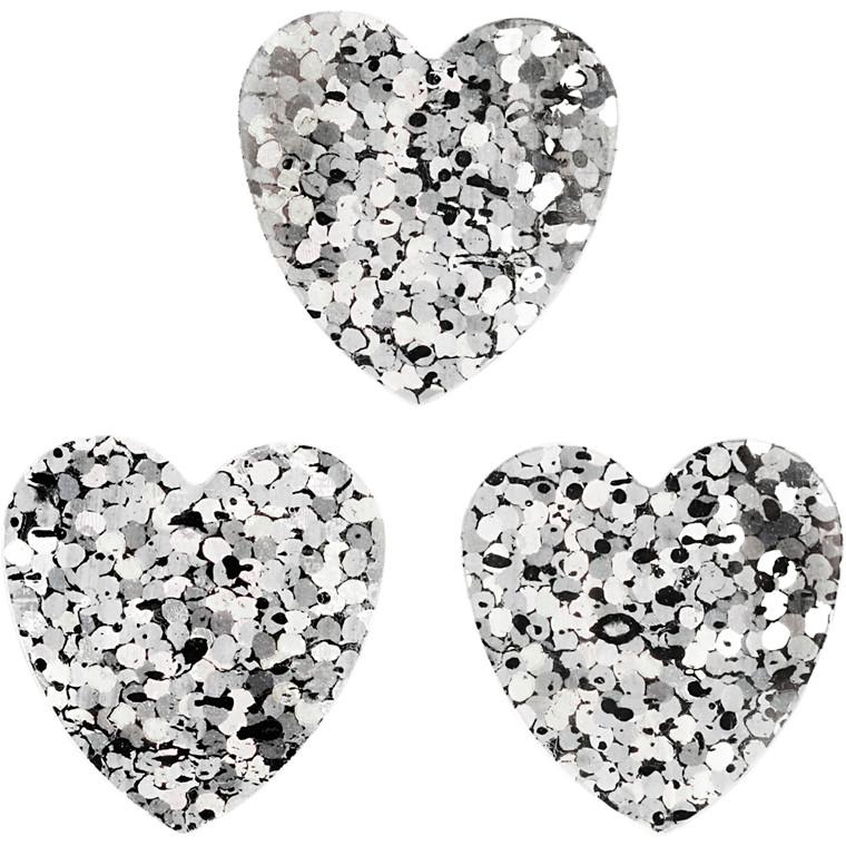 Pailletter størrelse 15 mm sølv hjerter - 10 gram