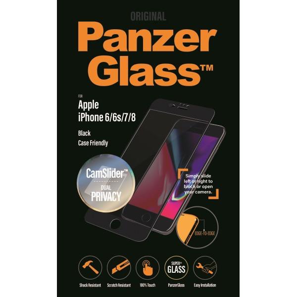 PanzerGlass iPhone 8/7/6s/6 Privacy CamSlider, Black (CaseFr