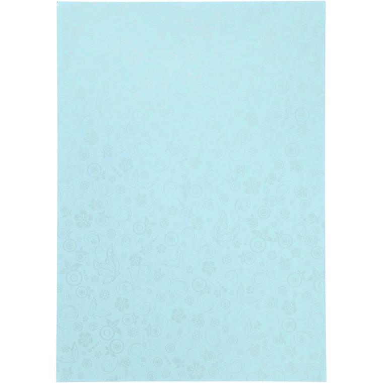 Papir, lyseblå, A4 210x297 mm, 80 g, 20ark