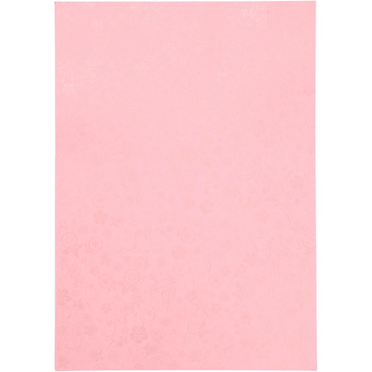 Papir, lyserød, A4 210x297 mm, 80 g, 20ark