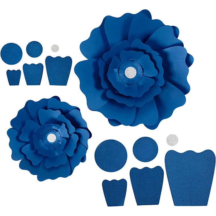 Papirblomster, blå, diam. 15+25 cm, 230 g, 2stk.