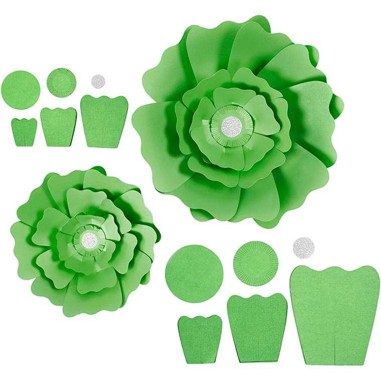 Papirblomster, grøn, diam. 15+25 cm, 230 g, 2stk.