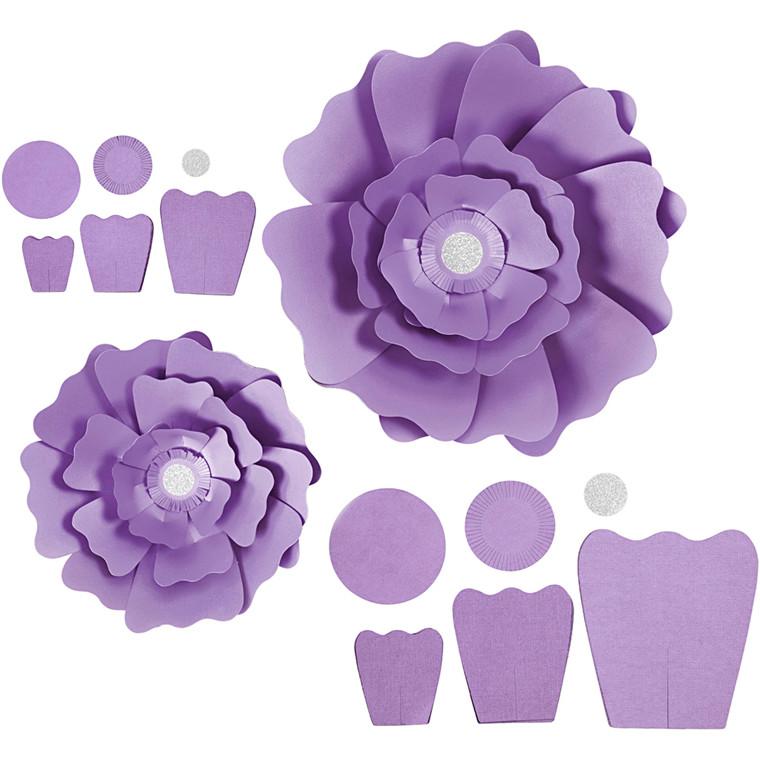 Papirblomster, lilla, diam. 15+25 cm, 230 g, 2stk.