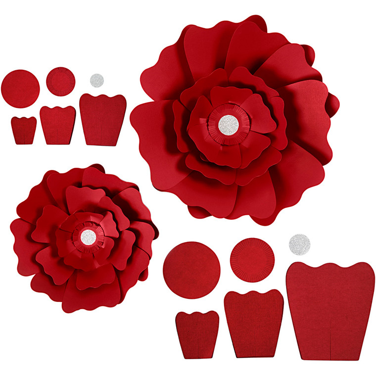 Papirblomster, rød, diam. 15+25 cm, 230 g, 2stk.