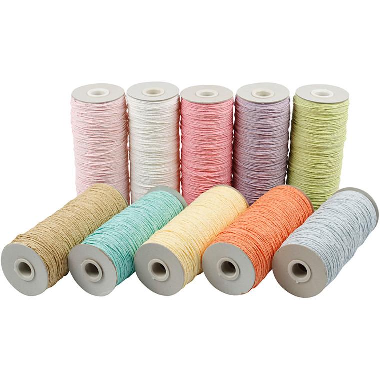 Papirgarn tykkelse 1,8 mm Længde 470 meter pastel farver tynd - 10 x 250 gram