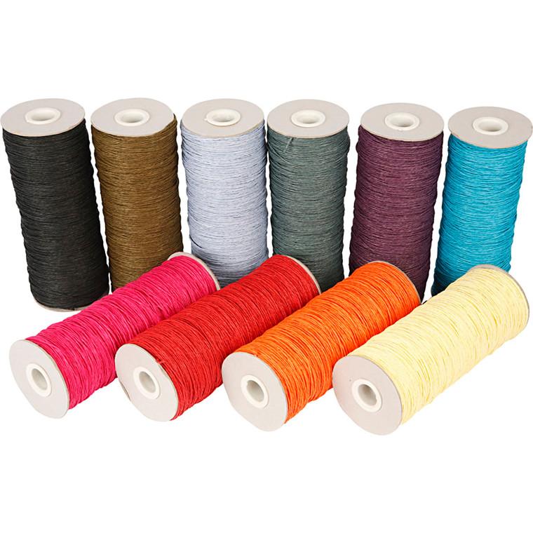 Papirgarn, tykkelse 1,8 mm, L: 470 m, stærke farver, tynd, 10x250g
