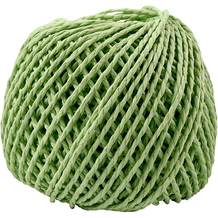 Papirgarn, tykkelse 2,5-3 mm, ca. 42 m, lys grøn, 150g