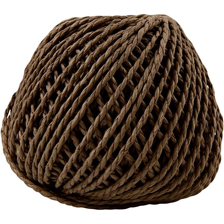 Papirgarn, tykkelse 2,5-3 mm, ca. 42 m, mørk brun, 150g