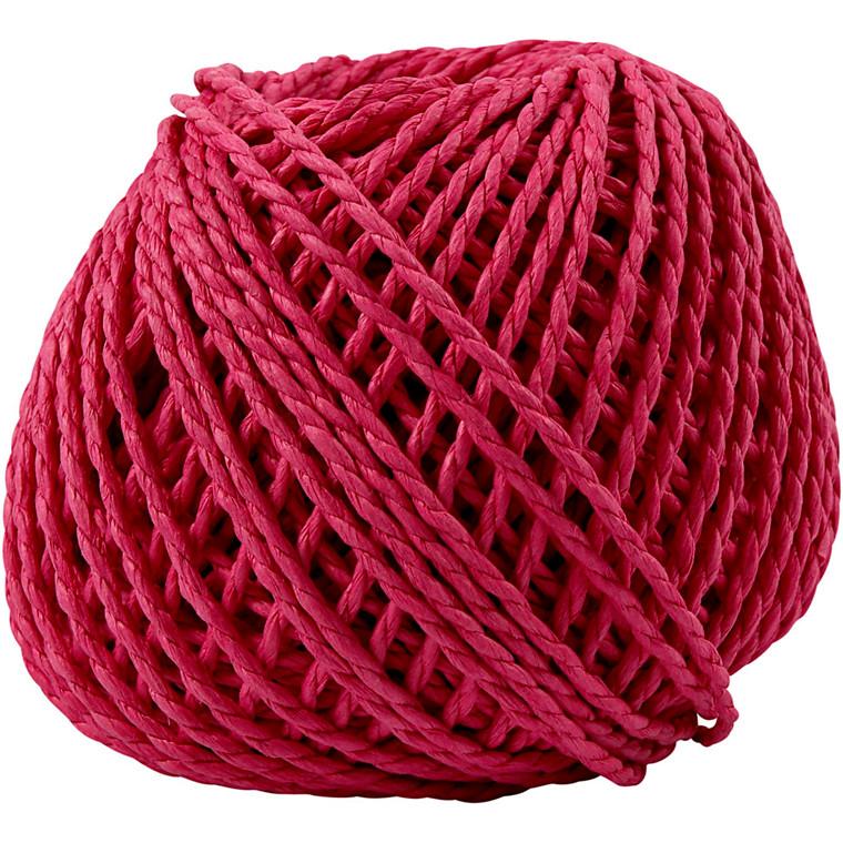 Papirgarn, tykkelse 2,5-3 mm, ca. 42 m, pink, 150g