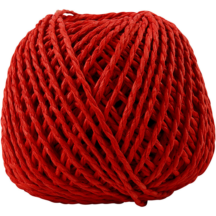 Papirgarn, tykkelse 2,5-3 mm, ca. 42 m, rød, 150g