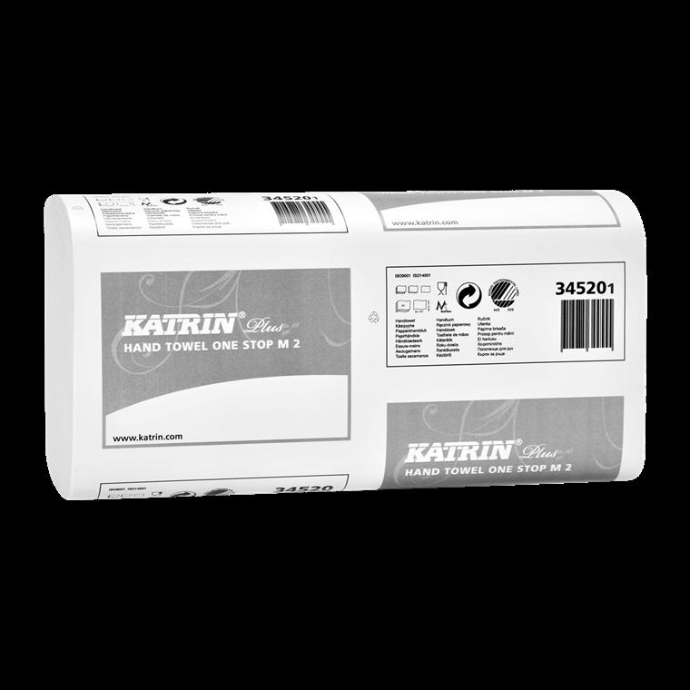 Katrin 345208 Plus One Stop M2 Papirhåndklæde 2 lags 23,5 x 25,5 cm  - 3024 ark