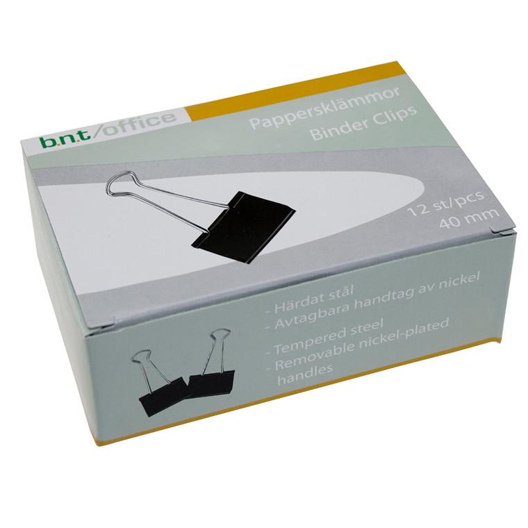Papirklemme BNT Foldback - 40 mm i sort og stål 12 stk i pakken