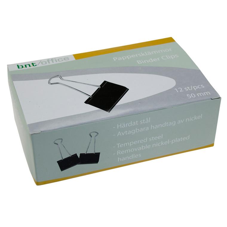 Papirklemme Foldback 50 mm - i sort og stål BNT 12 stk i pakken