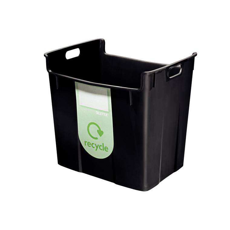 Leitz Basko Papirkurv 40 liter - Sort med recycle label