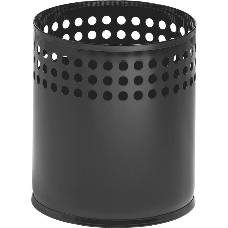 Sort Papirkurv i metal 21 liter - Højde: 32 cm Ø: 29 cm RM323