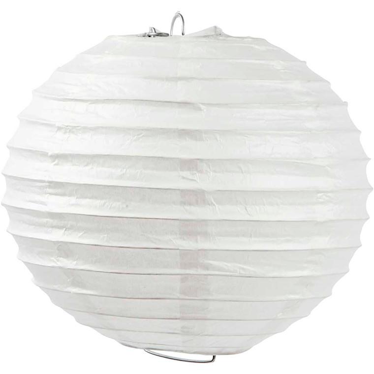 Papirlampe diameter 20 cm | hvid