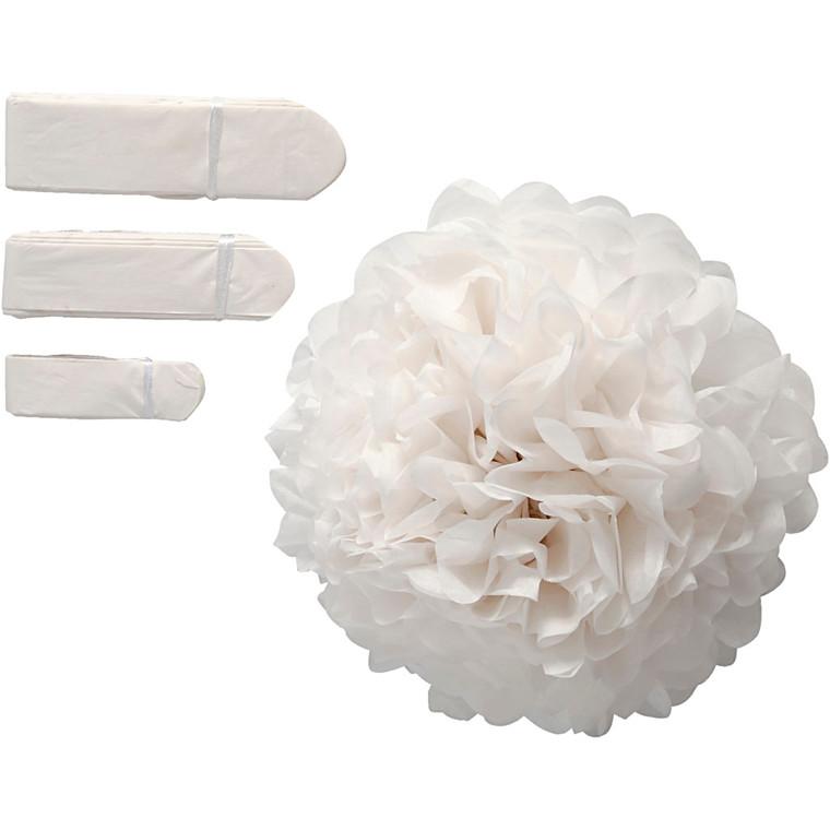Papirpomponer diameter 20 + 24 + 30 cm 14 gram hvid | 3 stk.