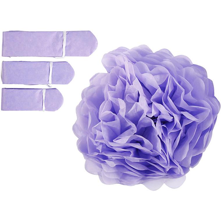 Papirpomponer diameter 20 + 24 + 30 cm 16 gram lilla | 3 stk.