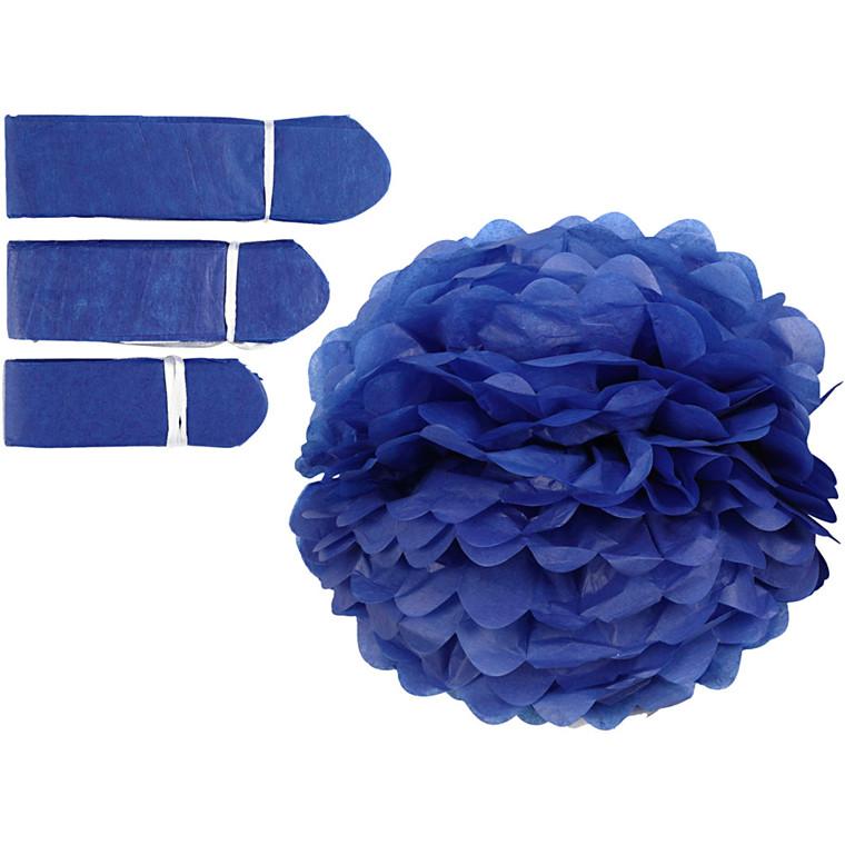 Papirpomponer diameter 20 + 24 + 30 cm 16 gram mørk blå | 3 stk.