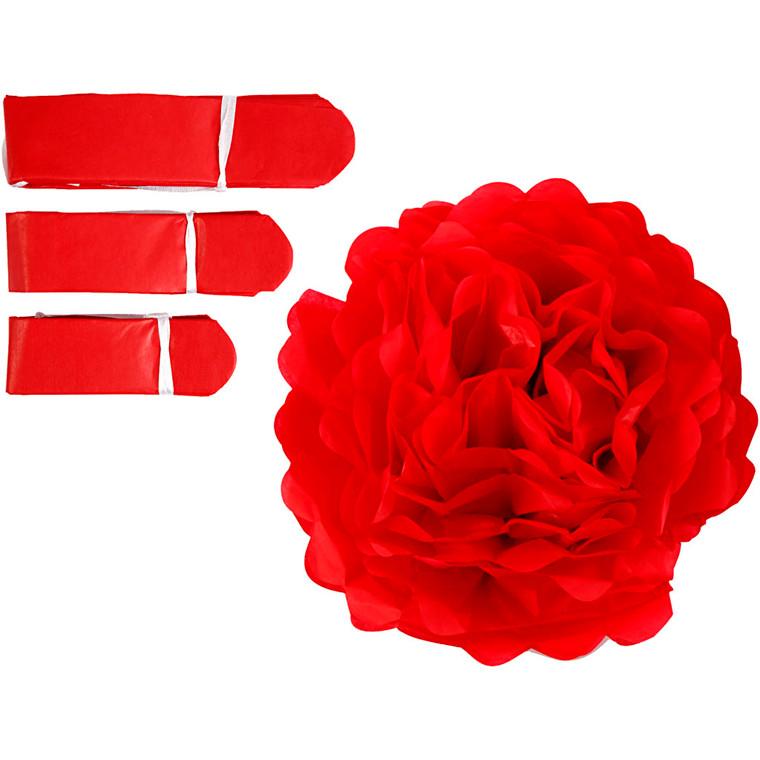 Papirpomponer diameter 20 + 24 + 30 cm 16 gram rød | 3 stk.