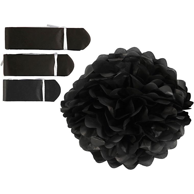 Papirpomponer diameter 20 + 24 + 30 cm 16 gram sort | 3 stk.