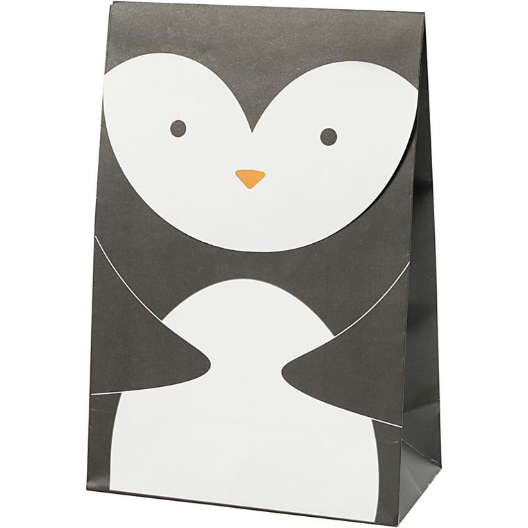 Papirpose højde 18 cm størrelse 6 x 12 cm grå hvid | 6 stk.