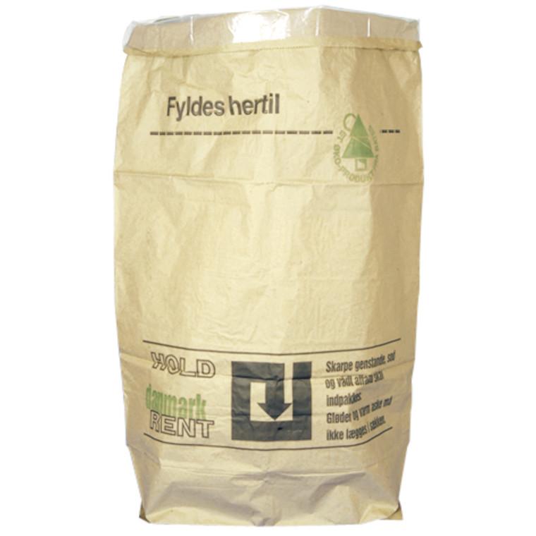 Papirsæk, Hold Danmark Rent, Vådstærkt semi clupak, brun, 100 g/m2 + PE-indlæg 50 my, 70x110 cm, 110