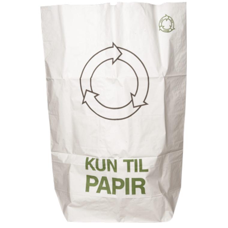 Papirsæk, Kun til Papir, Vådstærkt semi clupak, hvid, 70 g/m2, 70x110 cm, 110 l