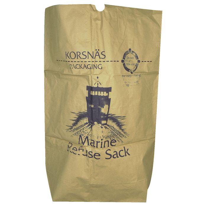 Papirsæk, Marine Refuse Sack, Vådstærkt semi clupak, brun, 70 g/m2, 70x95 cm, 95 l