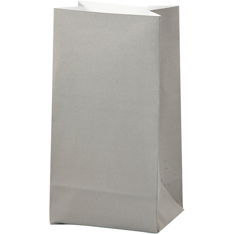 Papirsposer højde 17 cm str. 6 x 9 cm grå 80 gram   10 stk.