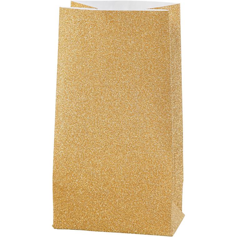 Vivi Gade Papirsposer guld, 120 gram Højde 17 cm str. 6 x 9 cm - 8 stk