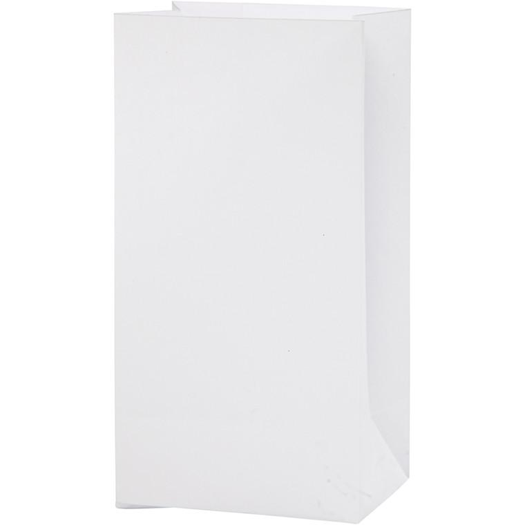 Papirsposer højde 17 cm størrelse 6 x 9 cm hvid 80 gram   10 stk.