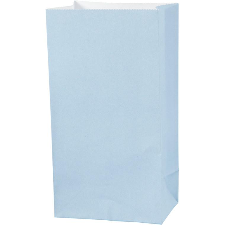 Papirsposer højde 17 cm str. 6 x 9 cm lys blå 80 gram   10 stk.