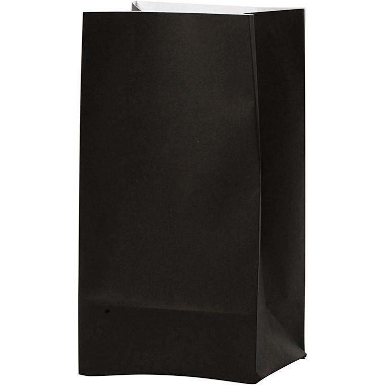 Papirsposer højde 17 cm str. 6 x 9 cm sort 80 gram   10 stk.