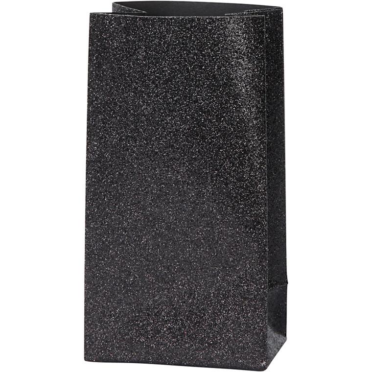 Papirsposer højde 17 cm str. 6 x 9 cm sort 120 gram   8 stk.