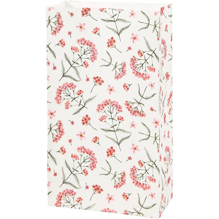 Papirsposer højde 21 cm str. 6 x 12 cm blomster 80 gram   10 stk.