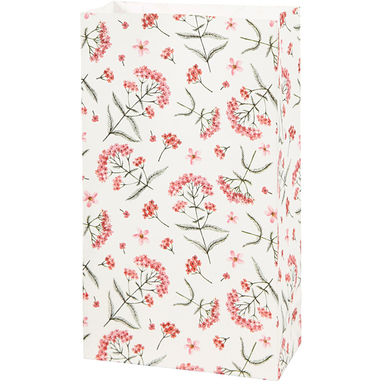 Papirsposer højde 21 cm str. 6 x 12 cm blomster 80 gram   8 stk.