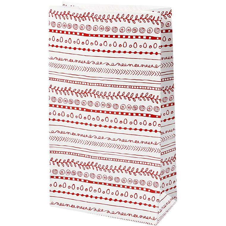 Papirsposer højde 21 cm str. 6 x 12 cm doodles   8 stk.