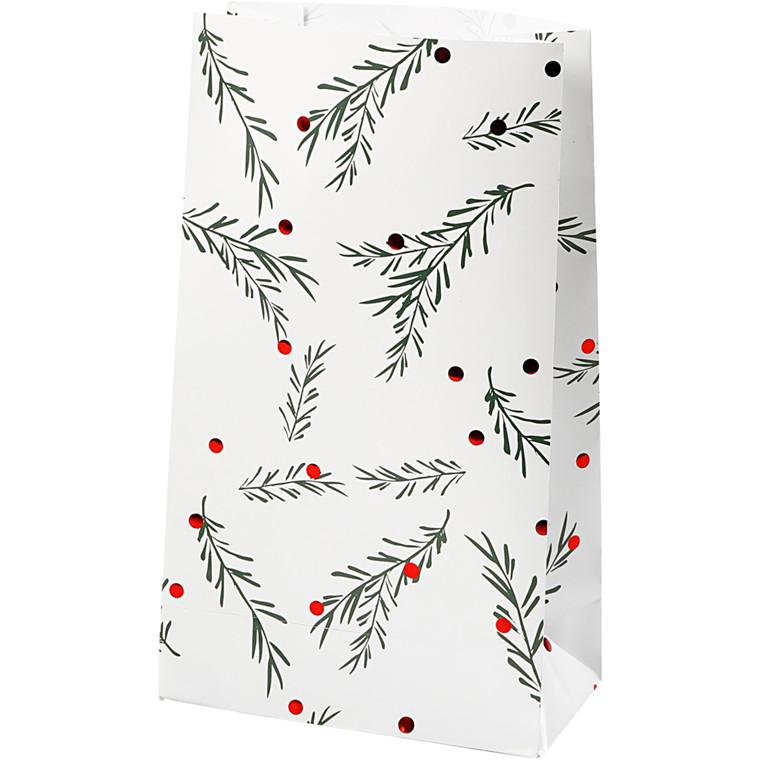 Papirsposer højde 21 cm str. 6 x 12 cm grangren med julekugler   8 stk.