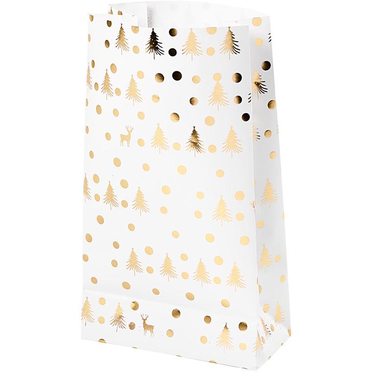 Vivi Gade Papirsposer hvid/guld/juletræ/hjort Højde 21 cm str. 6 x 12 cm - 8 stk