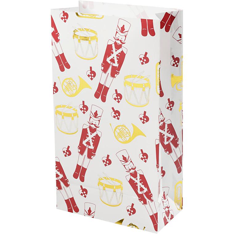 Papirsposer, H: 21 cm, str. 6x12 cm, hvid, guld, rød, nøddeknækker, 8stk.