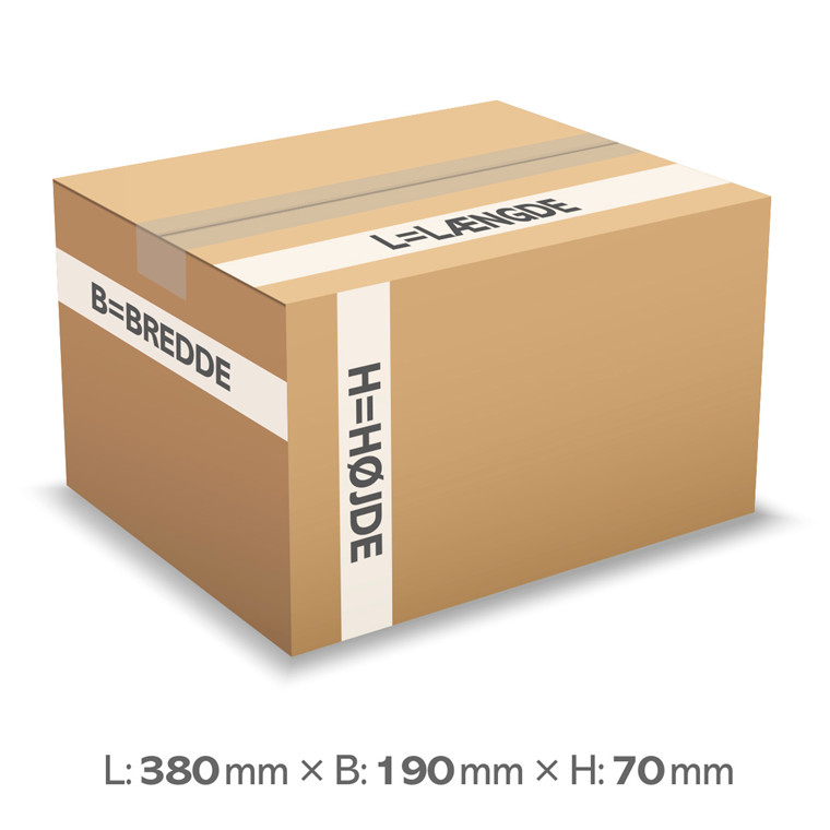 Papkasse nr. 1836 - 380 x 190 x 70 mm - 5 liter - 3 mm