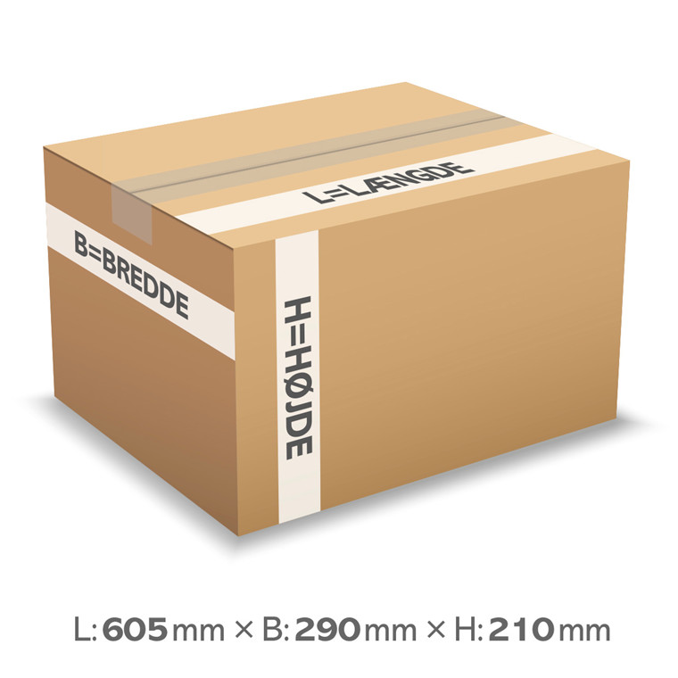 Papkasse nr. 290 - 605 x 290 x 210 mm - 37 liter - 3 mm